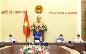 Chủ tịch Quốc hội Vương Đình Huệ làm việc với Văn phòng Quốc hội