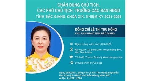 Bắc Giang Phó Bí thư thường trực Tỉnh ủy Lê Thị Thu Hồng được bầu giữ chức Chủ tịch HĐND tỉnh