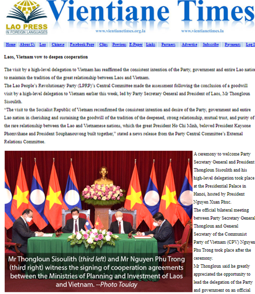 Chuyến thăm minh chứng cho mối quan hệ anh em Lào – Việt