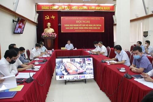 Đảng bộ Bộ Giao thông Vận tải thông báo nhanh kết quả Hội nghị TƯ 3