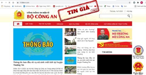 Cảnh báo về website giả mạo Cổng thông tin điện tử Bộ công an