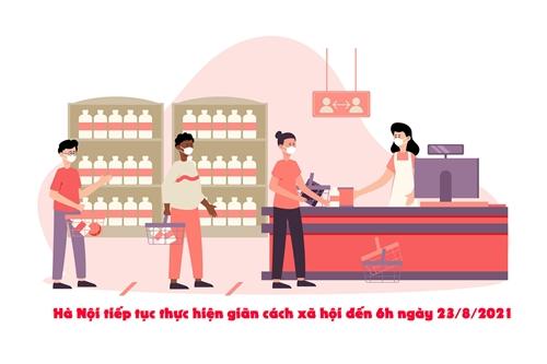 [Infographic] Hà Nội tiếp tục thực hiện giãn cách xã hội đến 6h ngày 23 8 2021