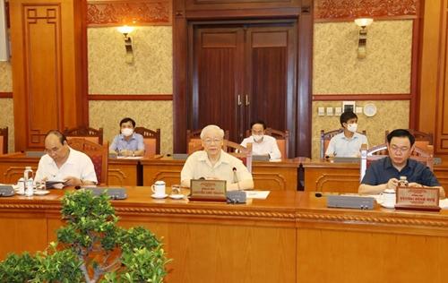 Tổng Bí thư chủ trì họp lãnh đạo chủ chốt về công tác phòng chống dịch COVID-19