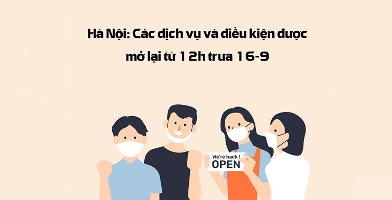Hà Nội Các dịch vụ và điều kiện được mở lại từ 12h trưa 16 9