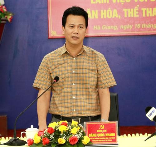 Bí thư Tỉnh ủy Đặng Quốc Khánh làm việc với Đảng ủy Sở Văn hóa, Thể thao và Du lịch