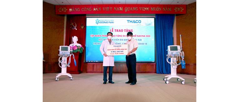 THACO tặng máy thở cho Bệnh viện Đa khoa Đồng Nai và trao tặng 2 triệu kit test nhanh Covid cho các tỉnh miền Nam, Tây Nguyên