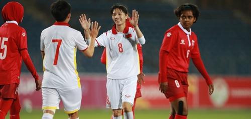 Tuyển nữ Việt Nam thắng đậm 16-0 trước Maldives tại vòng loại nữ châu Á 2022