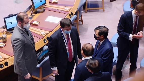Президент Вьетнама пообщался с представителями Российской делегации перед началом заседания Совета Безопасности ООН